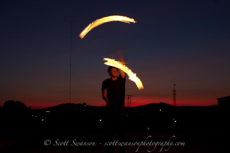 Sunset firespinning