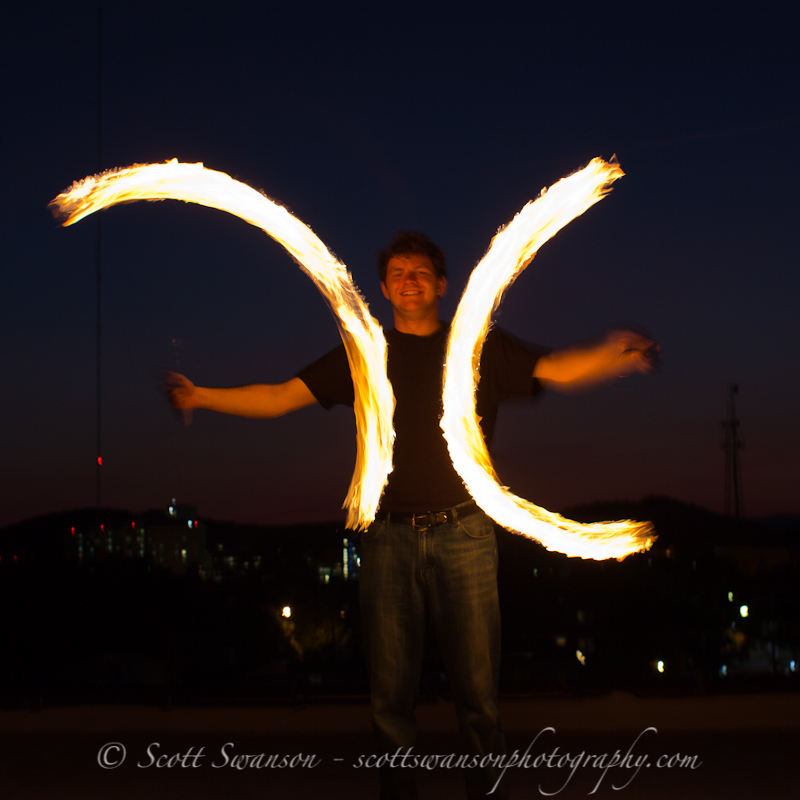 Fire spinning - JT lit only by fire